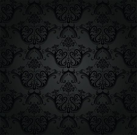 Charcoal floral seamless wallpaper. This image is a vector illustration. Please visit my portfolio for more similar illustrations. Stock Photo - Budget Royalty-Free & Subscription, Code: 400-04795883