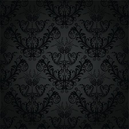 Luxury charcoal floral wallpaper. This image is a vector illustration. Please visit my portfolio for similar illustrations. Stock Photo - Budget Royalty-Free & Subscription, Code: 400-04795900