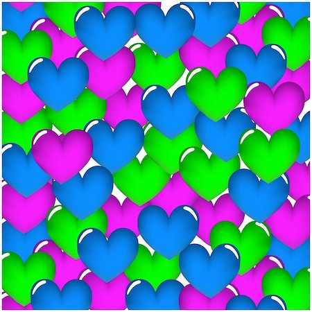 Hearts seamless pattern. Hearts on a white background. Vector illustration. Stock Photo - Budget Royalty-Free & Subscription, Code: 400-04796272