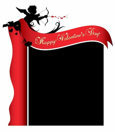 flying hearts clip art - Cupid silhouette with red ribbon and background illustration Stock Photo - Budget Royalty-Free & Subscription, Code: 400-04796849