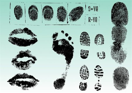 Fingerprint Footprints and Lips 2 - Very accurately scanned and traced ( Vectors are transparent so it can be overlaid on other images, vectors etc.) Stock Photo - Budget Royalty-Free & Subscription, Code: 400-04796864