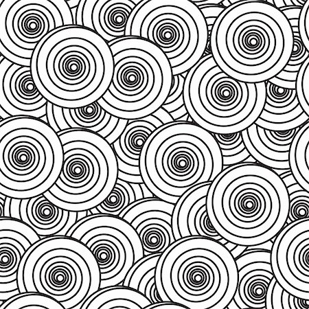 Black-and-white abstract background with spiral circles. Seamless pattern. Vector illustration. Stock Photo - Budget Royalty-Free & Subscription, Code: 400-04797015