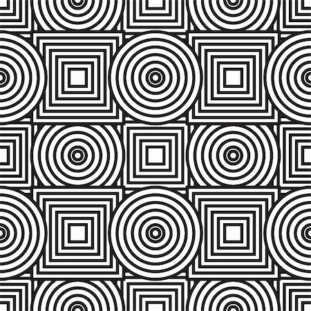 Black-and-white abstract background with circles and squares. Seamless pattern. Vector illustration. Stock Photo - Budget Royalty-Free & Subscription, Code: 400-04797212