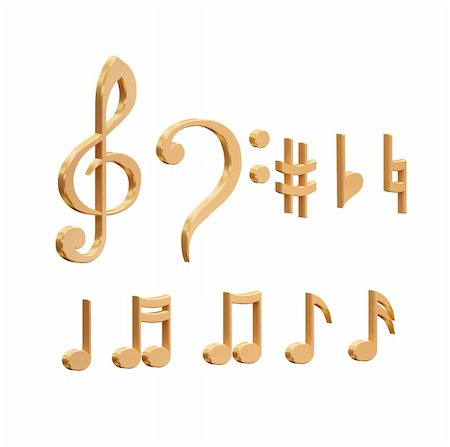 quarter note - 3d golden stave on a white background Stock Photo - Budget Royalty-Free & Subscription, Code: 400-04797387