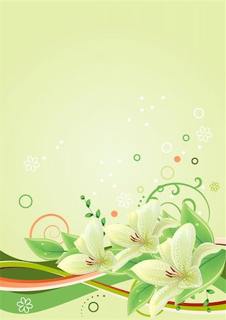 Spring green frame with lilies and abstract elements Stock Photo - Budget Royalty-Free & Subscription, Code: 400-04798374
