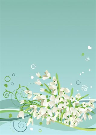 Spring blue frame with snowdrops and abstract elements Stock Photo - Budget Royalty-Free & Subscription, Code: 400-04798375