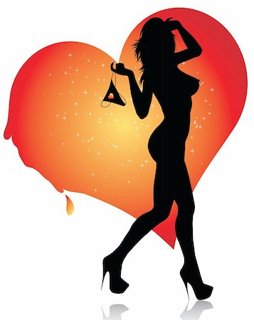 Sexy female silhouette with her lingerie and melting heart Stock Photo - Budget Royalty-Free & Subscription, Code: 400-04799430