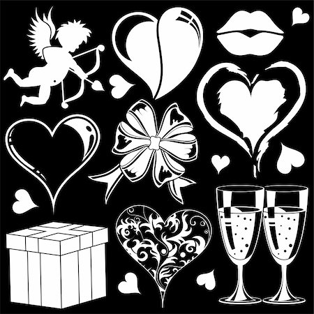 Valentines Day collection with Hearts, element for design, vector illustration Stock Photo - Budget Royalty-Free & Subscription, Code: 400-04799440