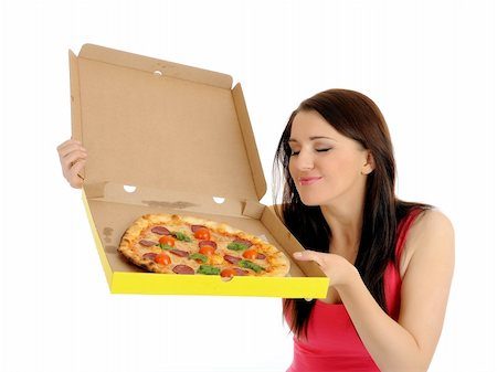 fat italian woman - Pretty young casual girl with tasty pizza in delivery paper box. isolated on white background Stock Photo - Budget Royalty-Free & Subscription, Code: 400-04799805