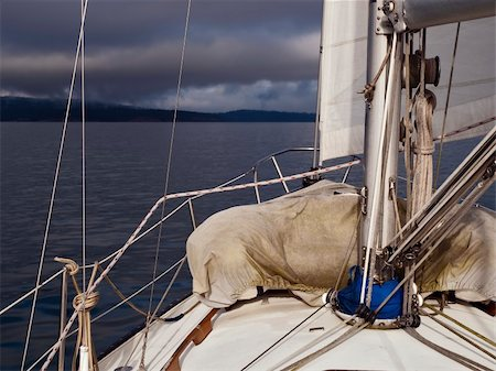 sailing boat storm - Dark clouds on the horizon while sailing the winter ocean in British Columbia, Canada. Stock Photo - Budget Royalty-Free & Subscription, Code: 400-04799974
