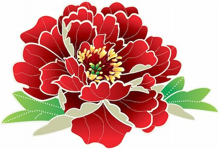 peony in vector - Stock Vector Illustration-Red Peony flower Stock Photo - Budget Royalty-Free & Subscription, Code: 400-04790230