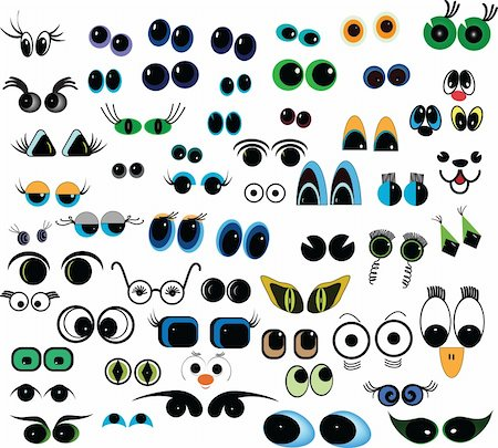 Set of cartoon vector eyes over white background Stock Photo - Budget Royalty-Free & Subscription, Code: 400-04790516