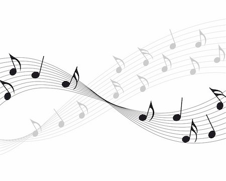 picture of music staff with notes - Vector musical notes staff background for design use Stock Photo - Budget Royalty-Free & Subscription, Code: 400-04790751