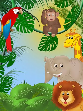 Illustration of cute animals among jungle plants Stock Photo - Budget Royalty-Free & Subscription, Code: 400-04790929