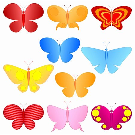 cartoon colorful butterflies set Stock Photo - Budget Royalty-Free & Subscription, Code: 400-04791589