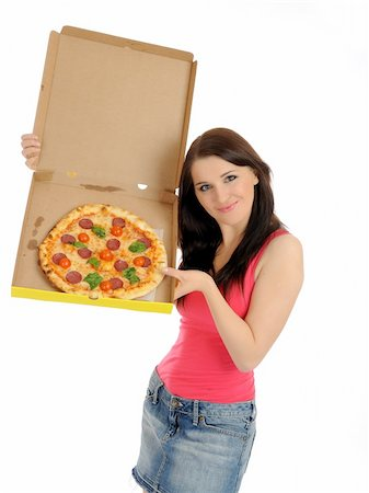 fat italian woman - Pretty young casual girl with tasty pizza in delivery paper box. isolated on white background Stock Photo - Budget Royalty-Free & Subscription, Code: 400-04792615