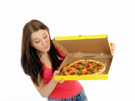 fat italian woman - Pretty young casual girl with tasty pizza in delivery paper box. isolated on white background Stock Photo - Budget Royalty-Free & Subscription, Code: 400-04792616