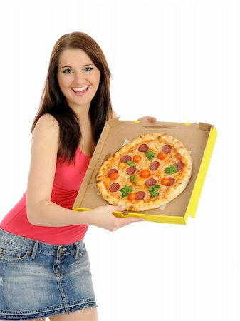 fat italian woman - Pretty young casual girl with tasty pizza in delivery paper box. isolated on white background Stock Photo - Budget Royalty-Free & Subscription, Code: 400-04792617