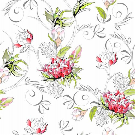 peonies graphics - Floral seamless pattern Stock Photo - Budget Royalty-Free & Subscription, Code: 400-04793245