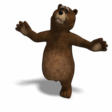 running away scared - cute and funny toon bear. 3D rendering with clipping path and shadow over white Stock Photo - Budget Royalty-Free & Subscription, Code: 400-04793735