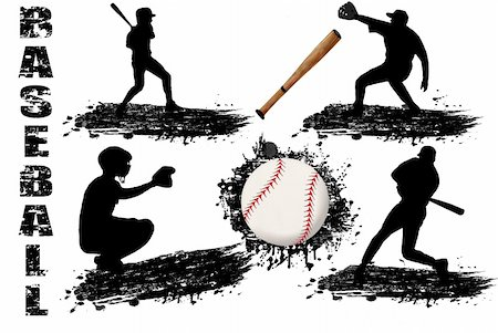 roxanabalint - Baseball player silhouettes on white background, vector illustration Stock Photo - Budget Royalty-Free & Subscription, Code: 400-04804039