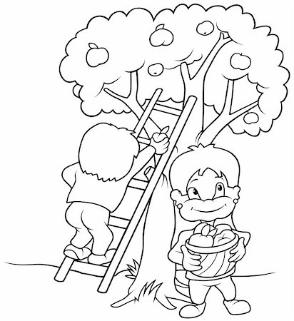 Children's Harvesting Fruits - Black and White Cartoon illustration, Vector Stock Photo - Budget Royalty-Free & Subscription, Code: 400-04804131
