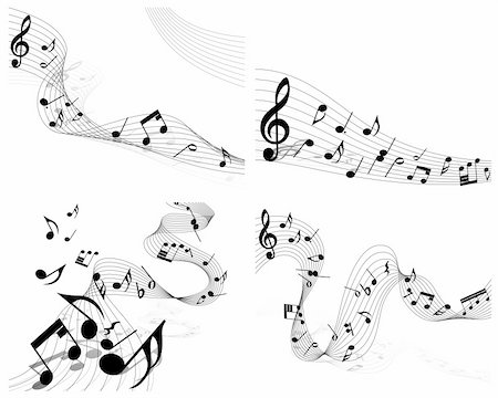 Vector musical notes staff set for design use Stock Photo - Budget Royalty-Free & Subscription, Code: 400-04804477