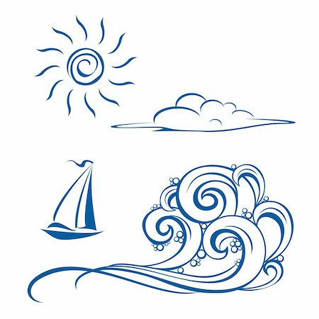 Boat waves, clouds and sun. Vector illustration on white Stock Photo - Budget Royalty-Free & Subscription, Code: 400-04804688