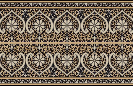 Seamless medieval oriental vector pattern Stock Photo - Budget Royalty-Free & Subscription, Code: 400-04805186