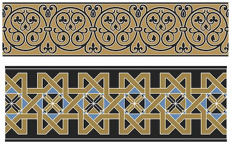 Seamless medieval oriental vector pattern Stock Photo - Budget Royalty-Free & Subscription, Code: 400-04805188