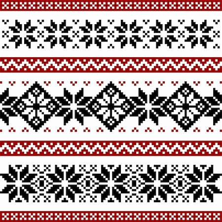 elakwasniewski (artist) - Nordic pattern with snowflakes, black and red silhoeuttes isolated on white background. Stock Photo - Budget Royalty-Free & Subscription, Code: 400-04805302
