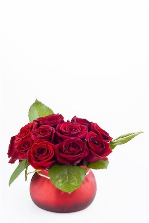 dozen roses - Beautiful roses in the red pot over white background Stock Photo - Budget Royalty-Free & Subscription, Code: 400-04805636
