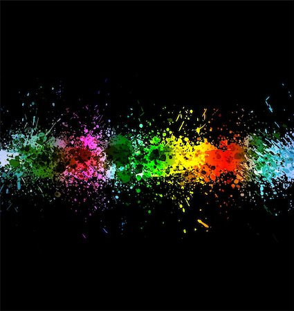 drop painting splash - Eps 10 color paint splashes. Gradient vector background on black background. Stock Photo - Budget Royalty-Free & Subscription, Code: 400-04805758