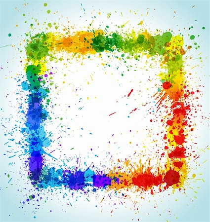 dripping splat - Color paint splashes square background. Gradient vector frame. Stock Photo - Budget Royalty-Free & Subscription, Code: 400-04805952