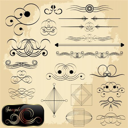 Calligraphic design elements, vector collection Stock Photo - Budget Royalty-Free & Subscription, Code: 400-04806251