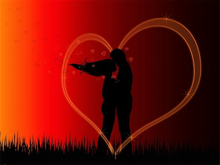 simsearch:400-04863562,k - Background with Silhouettes of kissing couple inside the heart Stock Photo - Budget Royalty-Free & Subscription, Code: 400-04806819