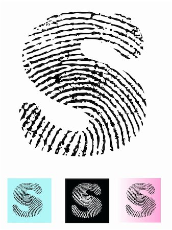 pokerman (artist) - Fingerprint Alphabet Letter S (Highly detailed Letter - transparent so can be overlaid onto other graphics) Stock Photo - Budget Royalty-Free & Subscription, Code: 400-04807589