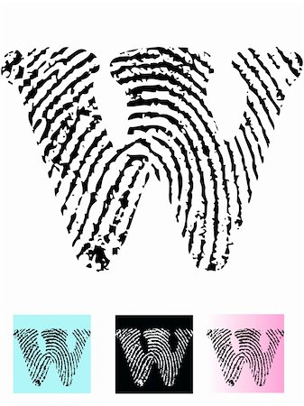 pokerman (artist) - Fingerprint Alphabet Letter W (Highly detailed Letter - transparent so can be overlaid onto other graphics) Stock Photo - Budget Royalty-Free & Subscription, Code: 400-04807594