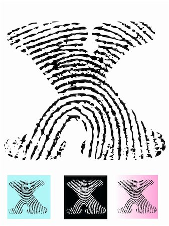 pokerman (artist) - Fingerprint Alphabet Letter X (Highly detailed Letter - transparent so can be overlaid onto other graphics) Stock Photo - Budget Royalty-Free & Subscription, Code: 400-04807595