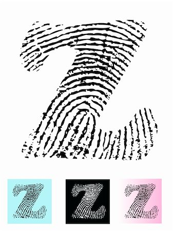 pokerman (artist) - Fingerprint Alphabet Letter Z (Highly detailed Letter - transparent so can be overlaid onto other graphics) Stock Photo - Budget Royalty-Free & Subscription, Code: 400-04807597