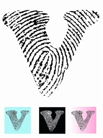 pokerman (artist) - Fingerprint Alphabet Letter V (Highly detailed Letter - transparent so can be overlaid onto other graphics) Stock Photo - Budget Royalty-Free & Subscription, Code: 400-04807593