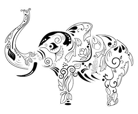 swirly - Vector picture with black silhouette of elephant Stock Photo - Budget Royalty-Free & Subscription, Code: 400-04807622