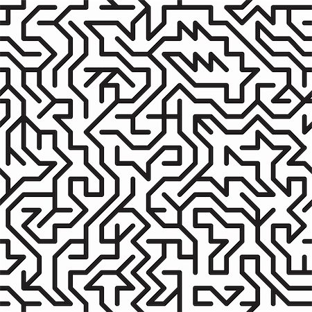 Black-and-white abstract background with complex maze. Seamless pattern for your design. Vector illustration. Stock Photo - Budget Royalty-Free & Subscription, Code: 400-04807696