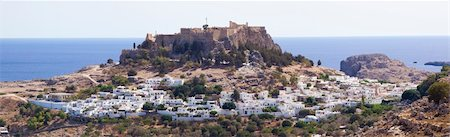 Lindos castle in rhodes   - greek town Lindos, Rhodes island, Greece Stock Photo - Budget Royalty-Free & Subscription, Code: 400-04807798