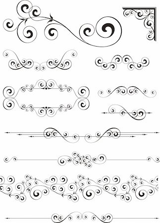 set of calligraphic ornaments in vector format very easy to edit, individual objects Stock Photo - Budget Royalty-Free & Subscription, Code: 400-04808376