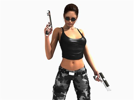darkgeometry (artist) - 3d illustration of a soldier girl holding two guns Stock Photo - Budget Royalty-Free & Subscription, Code: 400-04800243