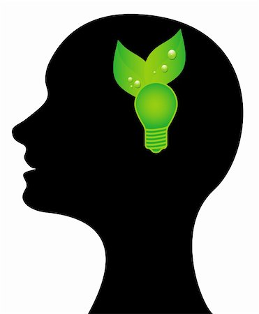Head with a green light bulb Stock Photo - Budget Royalty-Free & Subscription, Code: 400-04800674