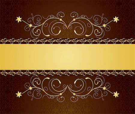 Illustration gold floral greeting cards and invitation - vector Stock Photo - Budget Royalty-Free & Subscription, Code: 400-04800808