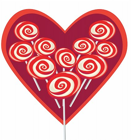 Vector illustration sweet red lollipop heart shape Stock Photo - Budget Royalty-Free & Subscription, Code: 400-04802313