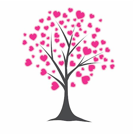 Tree with pink hearts for you. Vector illustration Stock Photo - Budget Royalty-Free & Subscription, Code: 400-04802957
